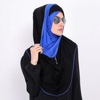 Bufanda de algodón Islam de fácil uso para mujer, de retales hiyabs, sombrero musulmán para mujer, gorra para niña