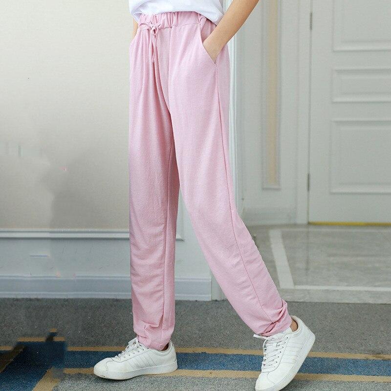 New Candy Color Summer Pants Women Lace Up Pantalon Femme Cotton Silk  Linen Sweatpants Casual Harem Pants Women Ladies Trousers