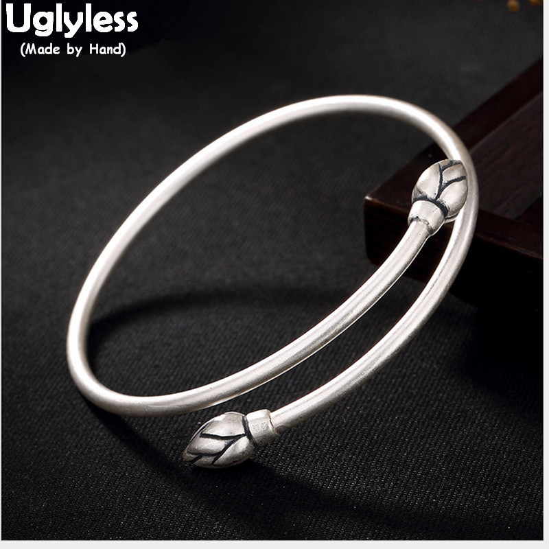 Uglyless Real S 990 Silver Fine Jewelry Simple Fashion Lotus Bangles for Women Elegant Ethnic Floral Bangle Handmade Open BijouxUglyless Real S 990 Silver Fine Jewelry Simple Fashion Lotus Bangles for Women Elegant Ethnic Floral Bangle Handmade Open Bijoux