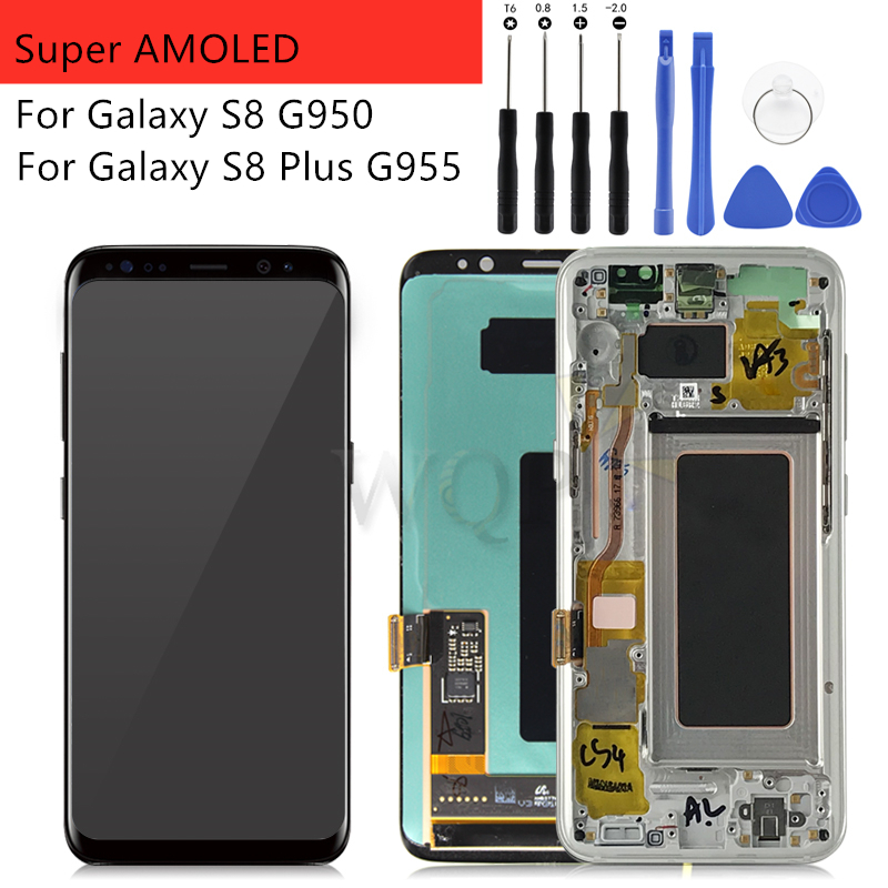 For Samsung Galaxy S8 S8 Plus G950 G955 Lcd Display with frame Display Touch Screen Digitizer Assembly Replacement Repair Parts-in Mobile Phone LCD Screens from Cellphones & Telecommunications    1