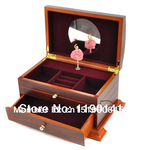 Deluxe DIY Retro Wooden Ballerina Music Box Jewelry Box Women Girl