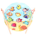 Wooden Jigsaw Puzzle Magnet Magnetic Marine fishing game toy outdoor fun toy toy gifts Montesorri interests