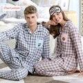 Outono Pijamas Set Mulheres Pijama Homem Xadrez de Manga Longa Sleepwear 100% Algodão Casal Amantes Nightwear Combinando Roupas Casuais Casa