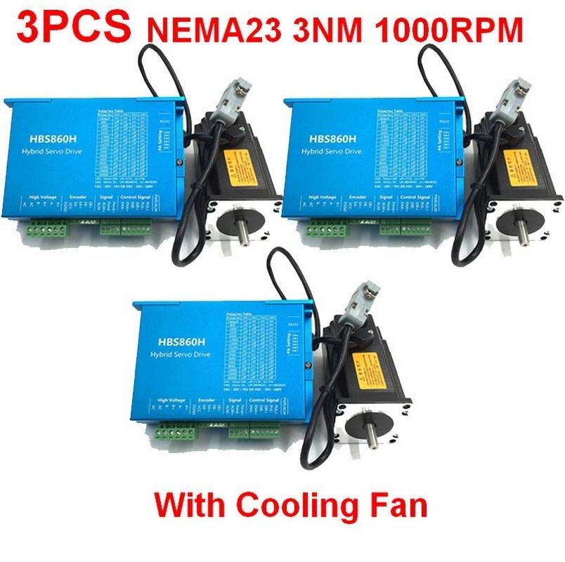 3PCS NEMA23 57mm 3Nm 430Oz in AC DC Closed loop Stepper Motor Drive Kit Easy Servo