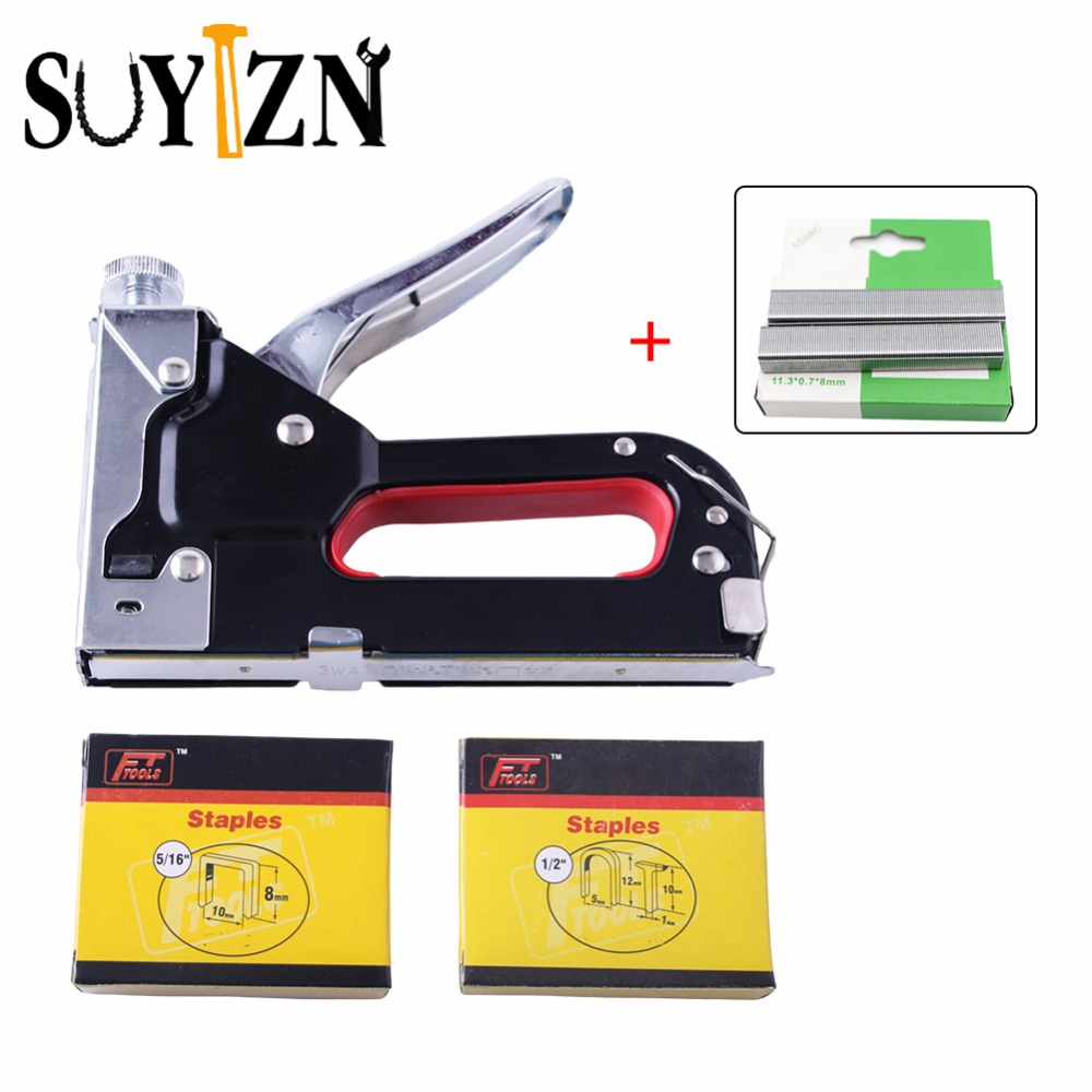 1Set Nail Gun&Staples+1Box Extra Staples Multitool Furniture Stapler For Wood Door Upholstery Framing Rivet Gun Kit Riveter Tool