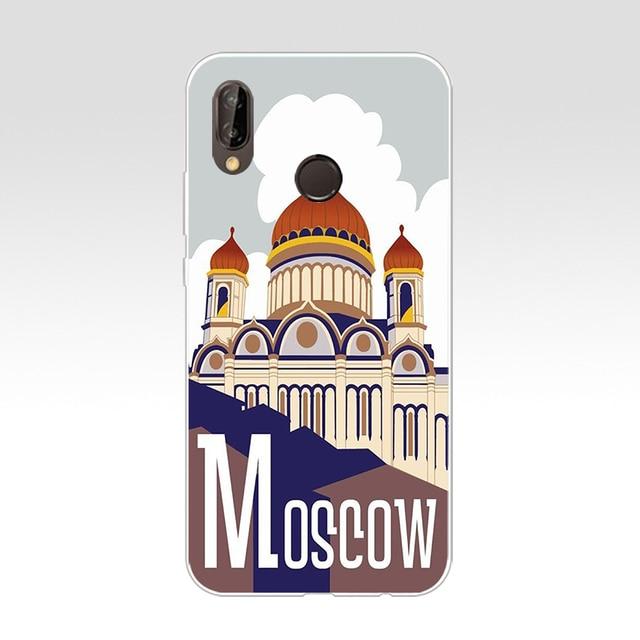 61A ville moscou russie art russe étude conception souple Silicone étui en polyuréthane thermoplastique étui pour huawei Nova 3 3i p smart