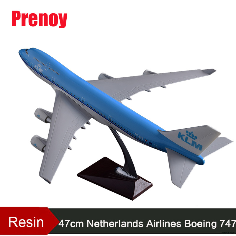 47cm Resin KLM B747 Aircraft Model Netherlands Airlines Airways Model Holland Boeing 747 Airplane Airbus Stand Plane Model KLM offer wings xx2456 special jc portugal airlines cs tjg 1 200 a321 commercial jetliners plane model hobby