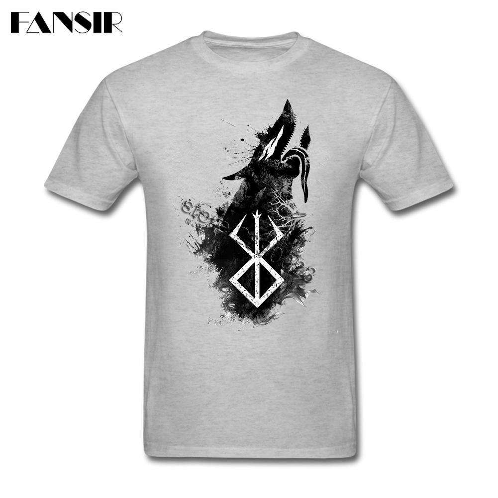 2017 Charming Wolf Berserk   T  -  shirt   Mens Short Sleeve Organic Cotton Men   T     Shirt   Camisa Masculina Plus Size