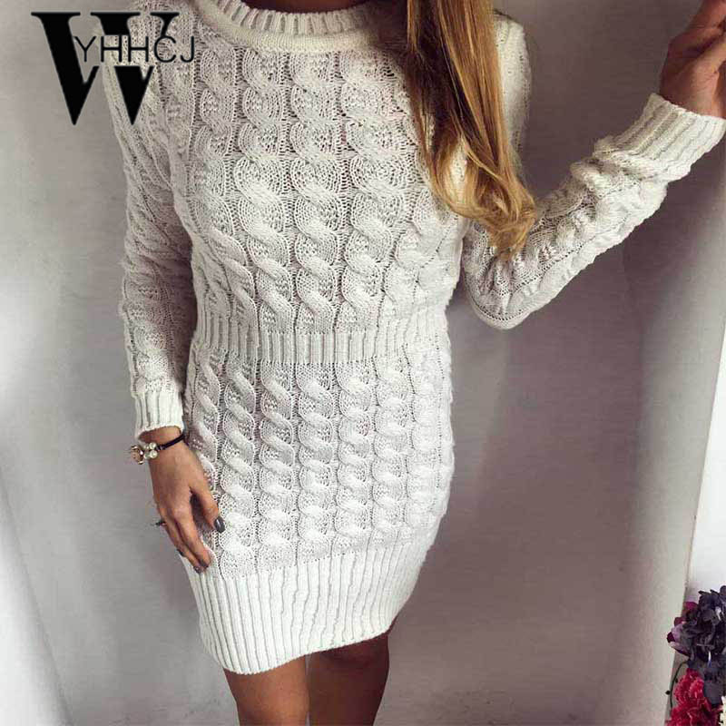 WYHHCJ crochet women sweater dress 2018 knitted thicken women dress elastic casual long sleeve female christmas dress femme