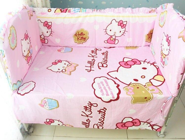 Promotion! 6 pièces Cartoon pas cher bébé literie berceau ensembles coton lit autour lavable (pare-chocs + feuille + taie d'oreiller)
