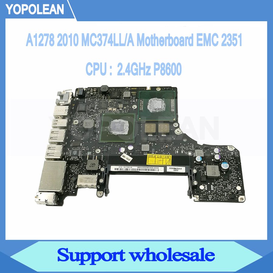 Genuine 2.4GHz P8600 Motherboard Logic Board For Macbook Pro 13 A1278 Mid 2010 EMC 2351 820 2879 B
