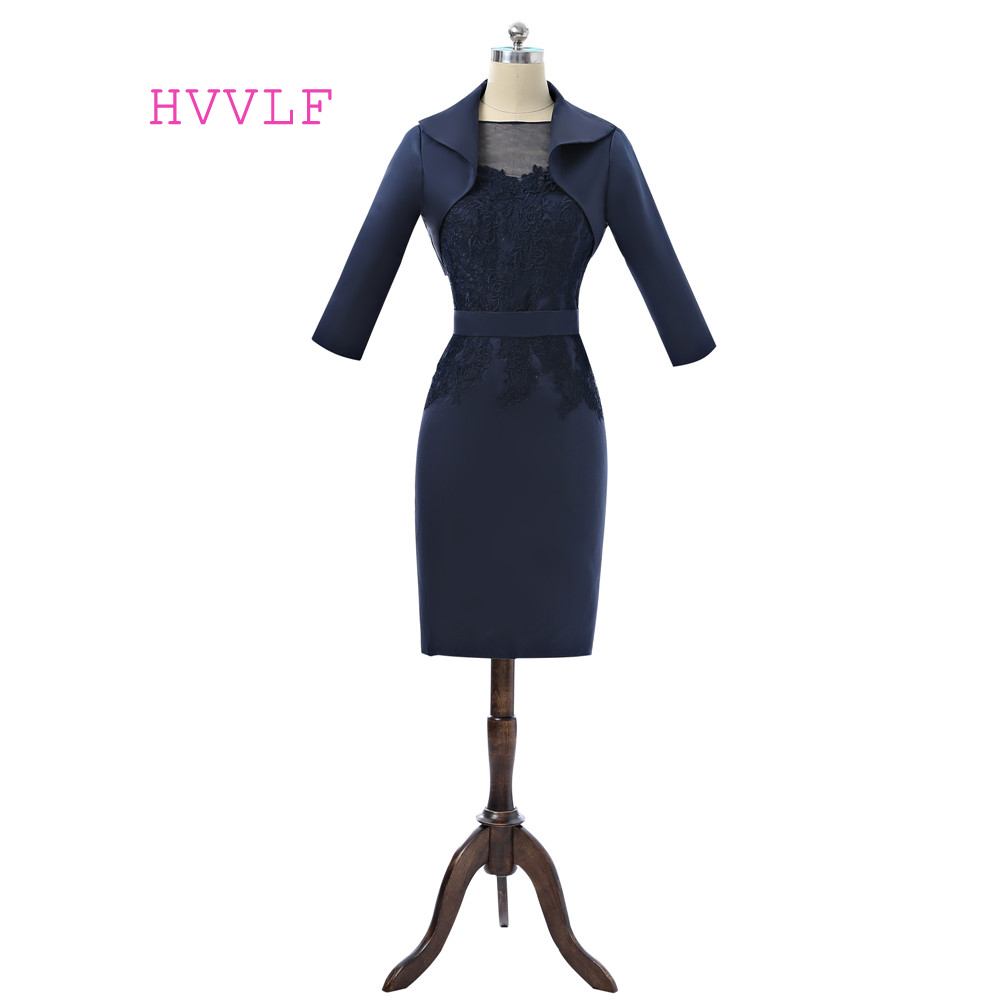 Navy Blue 2019 Mother Of The Bride Dresses Sheath Knee Length With Jacket Lace Plus Size Formal Groom Mother Dress For Wedding