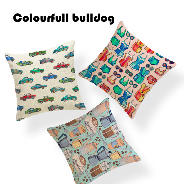 613a72d59e6a3 Grand Festival Tropical Food Pattern Print Cushion Cover Coffee Swimsuit  Kfc Winter Home Decoration Throw Pillows Covers 45*45Cm