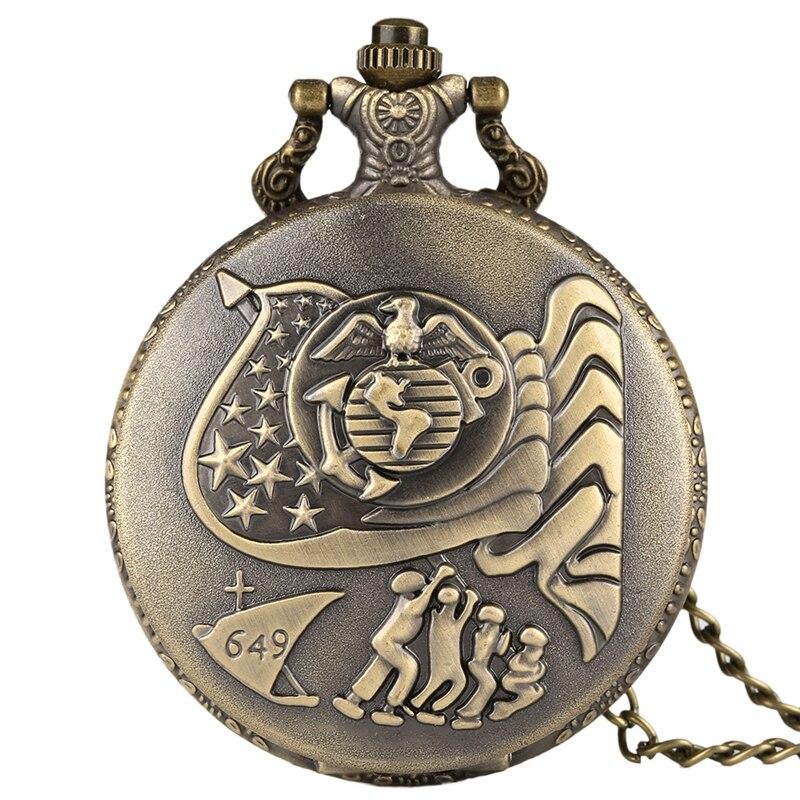 US Navy Eagle 649 Quartz Pocket Watch Vintage Bronze Necklace Pendant Analog Round Dial Hour Clock Chain Gifts For Men Women