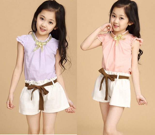 Summer Hot-selling girl Kids Set Fashion Fly sleeve Pink Vest+shorts Pants With Belt Two piece Brand casual Clothes set for girl