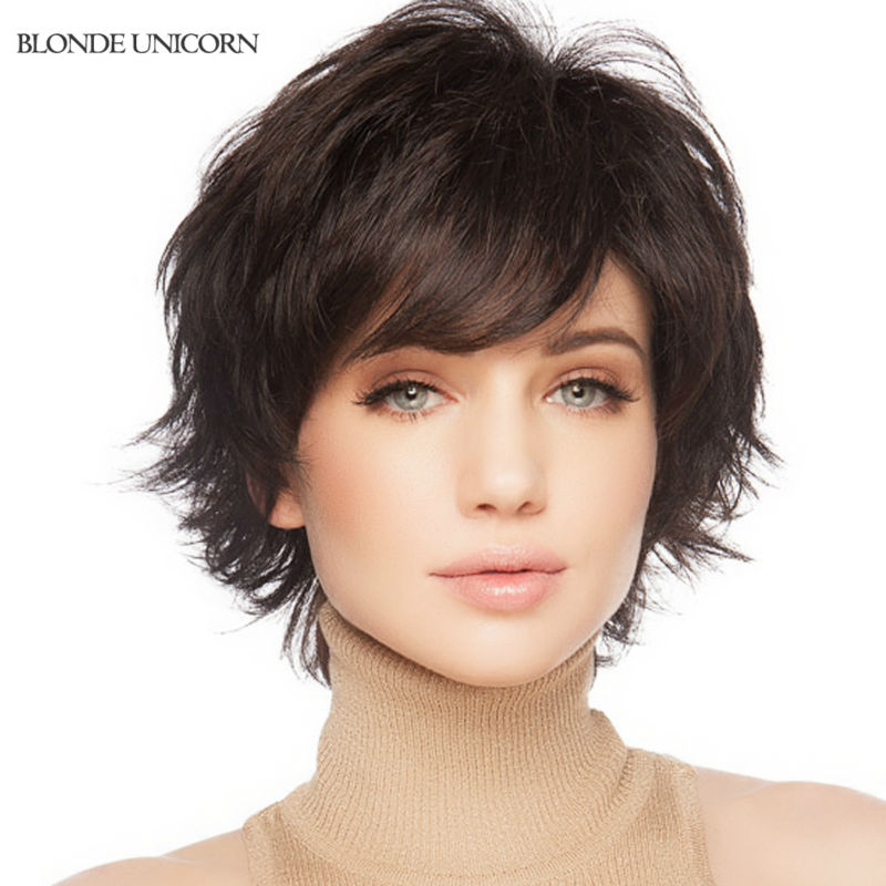 Blonde Unicorn New Arrival Full Lace Human Hair Wigs Elastic Glueless Cap Dark Brown Color Black Color Short Curly  Wig