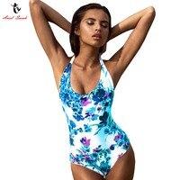 Ariel Sarah Brand Halter One Piece Plus Size Swimsuit 2017 Floral Large Size Swimwear Bandage Bathing