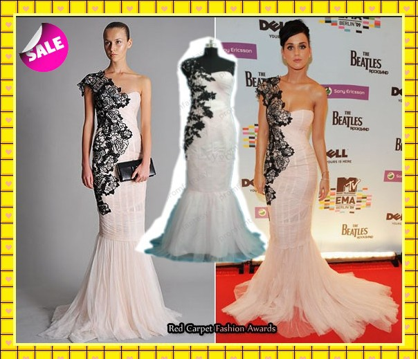 Katy Perry Celebrity Inspired Black Lace One Shoulder Strap White ...