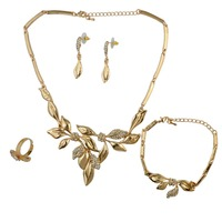 2016 Fashion Leaf Shape Gold Necklace Crystal Rhinestone Choker Necklace Bracelet Ring And Earrings For Bridal