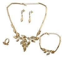 2017 fashion forma di foglia oro collana di cristallo del rhinestone choker collana braccialetto anello e orecchini per le donne da sposa insieme dei monili