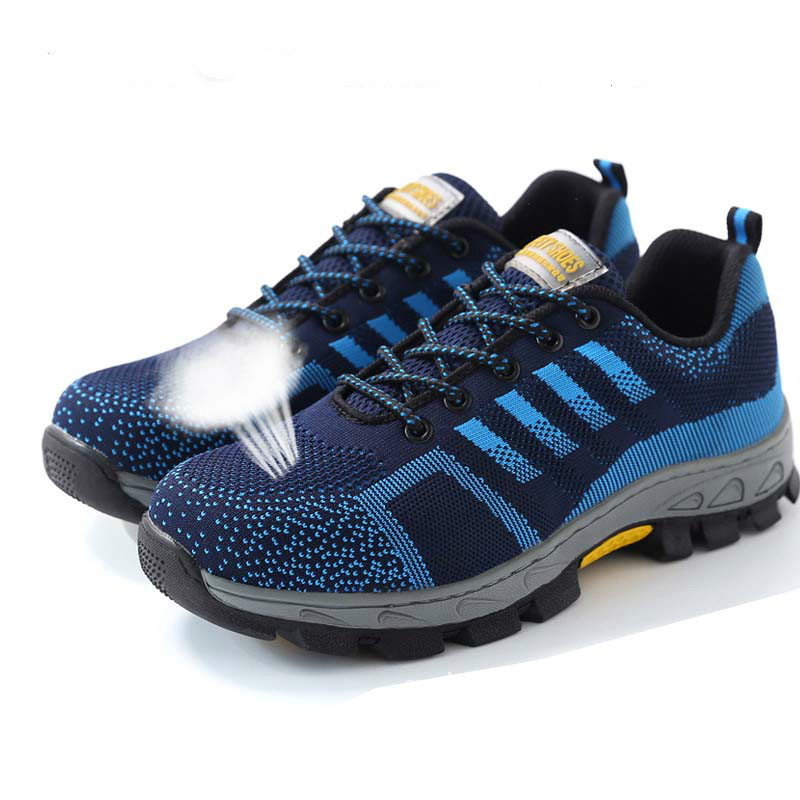 perfuração Masculina Trabalho Bota Homens Sapatos Respirável azul Biqueira Preto Aço Lettbao Anti Segurança De slip Wearable Proteção Calçados Anti qFv4qw