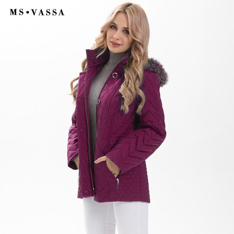 MS VASSA Plus size Parkas Women 2019 New Winter Autumn Ladies padding Jackets detachable hood with