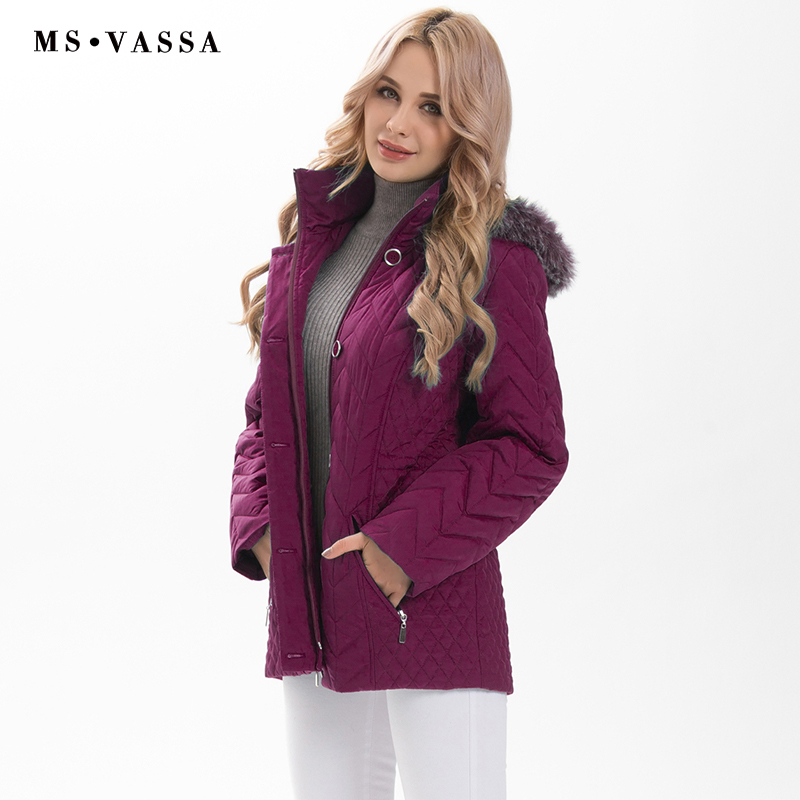 MS VASSA Plus size   Parkas   Women 2019 New Winter Autumn Ladies padding Jackets detachable hood with nice faux fur big size 5XL
