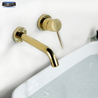 Gold Color Simple Wall Mounted Bathroom Faucet 100% Solid Brass Single Handle Basin Water Mixer Faucet Golden Tap Ware
