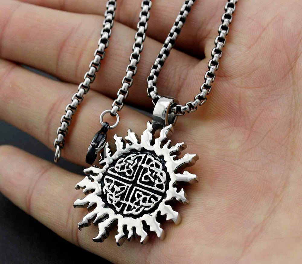 Mens 316l stainless steel sun cross celtic knot pendant necklace in mens 316l stainless steel sun cross celtic knot pendant necklace in pendants from jewelry accessories on aliexpress alibaba group aloadofball