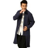 새로운 패션 당나라 정장 참신 네이비 블루 남성 클래식 중국 스타일 최고 긴 재킷 버튼 무료 배송 코트 Sml XL XXL XXXL