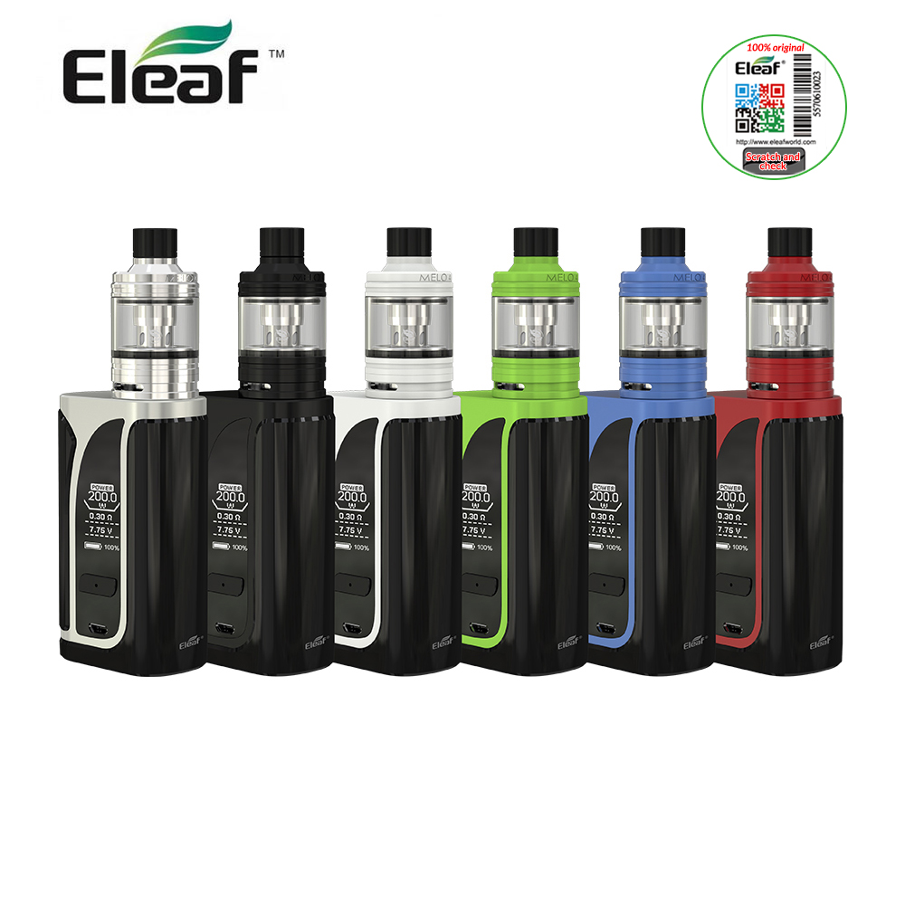 IN STOCK Original Eleaf iKuu I200 Kit with Melo 4 Atomizer 200W Mod Box 4.5ML Tank Capacty 0.96 inch screen EC2 Head e-Cigarette ty qt durable tank butt stock w  cotton