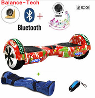 6.5 Inch Hoverboard Manillar Electric Scooters Self Balancing Scooter Gyroscope Two Wheels Overboard LED Light+Bluetooth