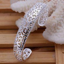 Promotion free shipping silver plated bangle bracelet silver fashion jewelry Small Hollow Bangle /apaajgha awzajoga KN-B144