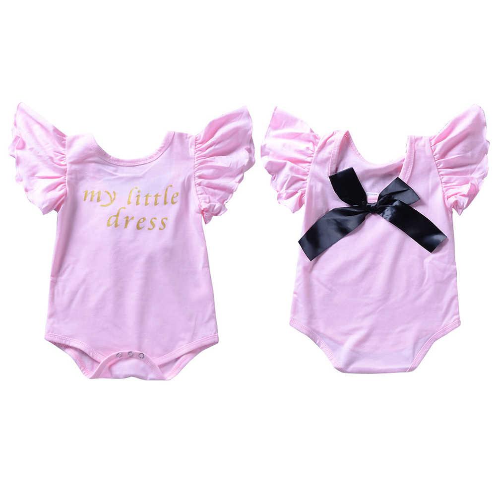 Для новорожденных девочек, комбинезон черный бантом младенца бабочки рукав комбинезон Bebe Одежда для девочек наряд