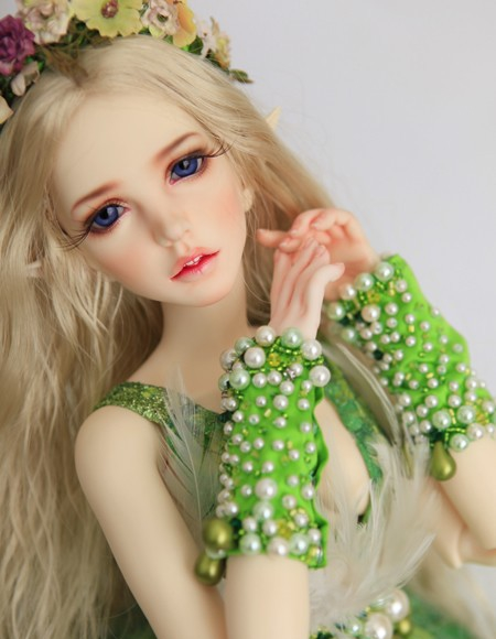 free shipping! face makeup& eyes included ! top quality 1/3 bjd Ariel green fairy sexy female girl doll sd dod manikin gift free shipping face makeup