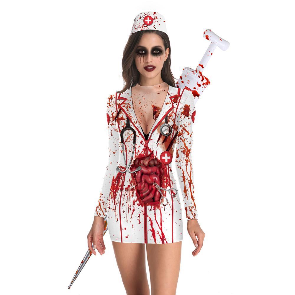 Halloween Costumes White Nurse Dress Zombie Cosplay Fancy Female Nurses Costumes Spooky Blood Splatter Costume