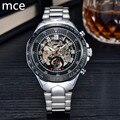 MCE Fashion Brand Mechanical Watch Men Hollow Skeleton Mechanical Watches for Men Stainless Steel Watch Erkek Saat Reloes 2016