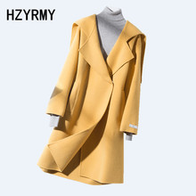 HZYRMY Winter New Women's Cashmere Woolen coat Solid Loose Hooded Collar Quality Long Coat Thick Wool Fabric Female Wild Coat