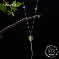 INALIS 925 Sterling Silver Chic Long Tassel Pendant Necklace Sweater Chains Necklace Fine Jewelry For Women