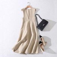 Ukraine Vestidos Plus Size Autumn And Winter Wool Dress OL Women Plaid V Neck New High End Cashmere Sleeveless Dress