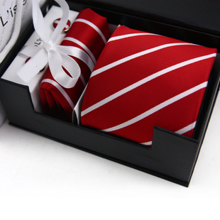 New year gift rhodic south korean silk stripe male formal tie cufflinks handkerchief exquisite gift set