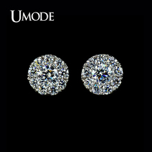UMODE Top Quality Women's Silver Summer Jewelry White Copper Stud Post Earrings With 0.25 Carat Cubic Zirconia   AUE0007