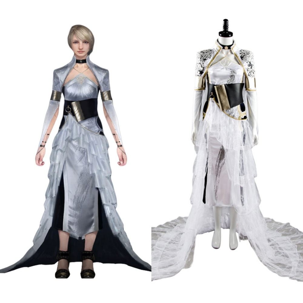 Final Fantasy XV Cosplay Lunafreya Nox Fleuret Cosplay Costumes Dress FF15 Woman Party Evening Dresses Halloween Carnival Cloak