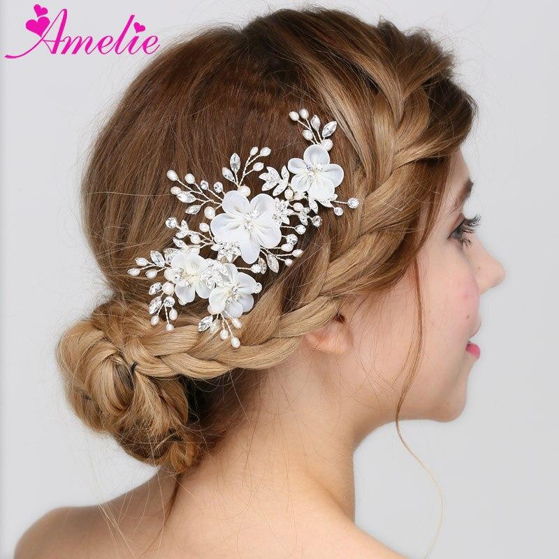 US $11.14 22% OFF|Floral Bridal Clip Crystal