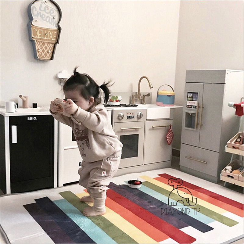 100x15cm Developing Mat  INS Children's Color Strip Game Mat Baby Room Decoration Baby Crawling Mat Studio Props Photography Boy
