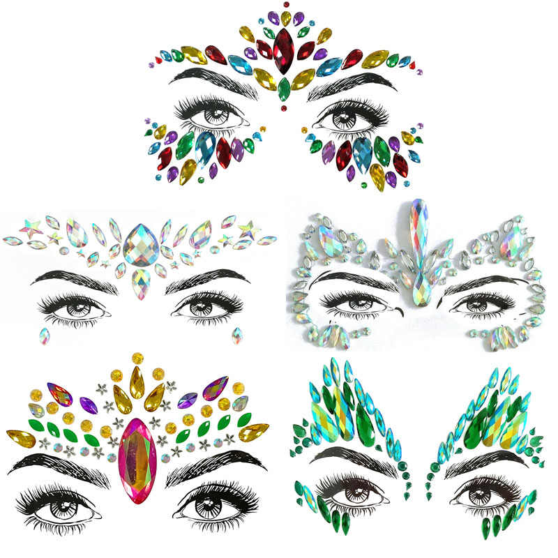 Glitter Face Jewels Temporary Tattoo Sticker Body Gems Gypsy Festival Adornment Party Face Decoration Tattoo Beauty Makeup Tools