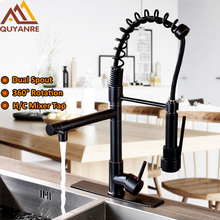 Chrome  Black Spring Pull Down Kitchen Faucet Dual Spouts 360 Swivel Handheld Shower Kitchen Mixer Tap Hot Cold 2 Outlet Taps