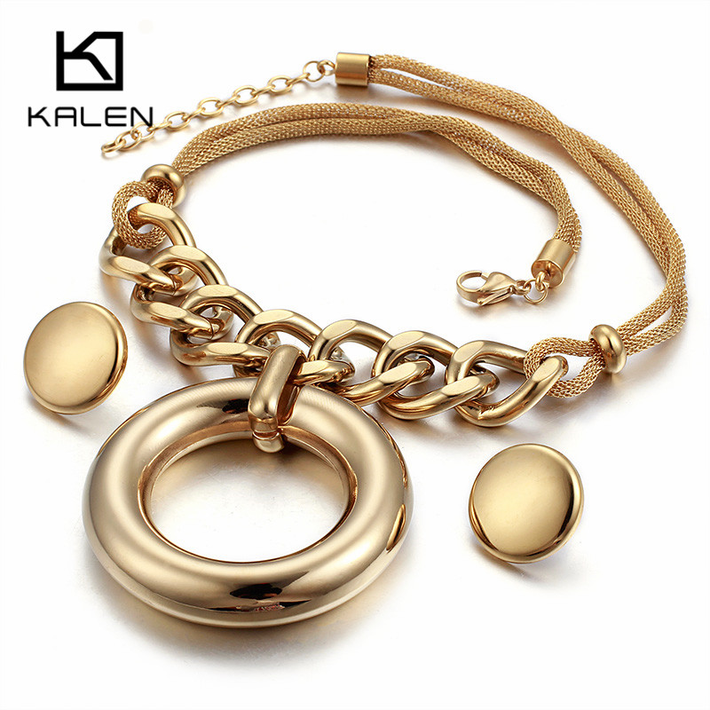 Kalen High Quality Stainless Steel Gold Color Big Hollow Rou