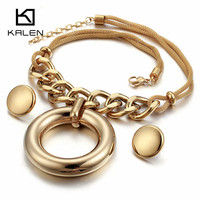 Kalen High Quality Stainless Steel Gold Color Big Hollow Round Pendant Necklace And Earrings For Women Fashion Wedding Jewelry