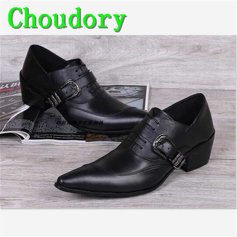 Choudory Height Increasing Leather Hasp Horsebit Pointed Toe Mens Dress Brogue Shoes Solid Wedding New Fashion Mens Shoes Casual